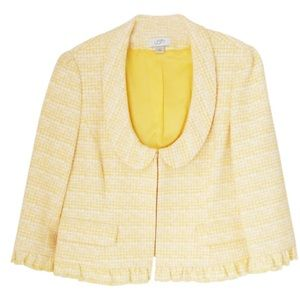 Ann Taylor LOFT Yellow/White Plaid Jacket. Size 8.
